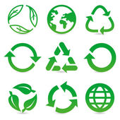 Vector collection with recycle signs and symbols — Stock Vector