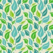 Vector seamless background with green and blue leaves — Stock Vector