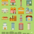 Vector set with buildings icons - Stock Vector