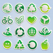 Vector set with ecology stickers — Stock Vector