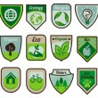 Vector green labels and stickers - Stock Vector