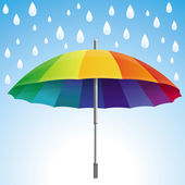 Vector umbrella and rain drops in rainbow colors — Stock Vector