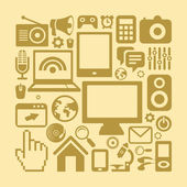 Vector set of technology icons in retro style — Stock Vector