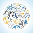 Vector round concept with sport icons and signs - Stock Vector