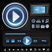 векторный набор с интерфейсом для музыкального проигрывателя — Cтоковый вектор