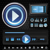 Vector set with interface for music player — Stockvector