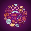 Vector round concept with trendy hipster icons - Векторная иллюстрация
