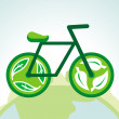 Vector green bicycle with recycle signs — Stock Vector