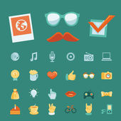 Vector set with trendy hipster icons and signs — Stock Vector