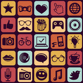 Vector seamless pattern with trendy hipster icons — Stock Vector