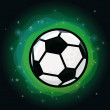 Vector soccer ball on green background — ベクター素材ストック