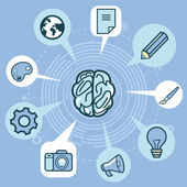 Vector creativity concept - brain and icons — Stock Vector
