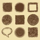 Vetor definido com doodle backgrounds e quadros — Vetorial Stock