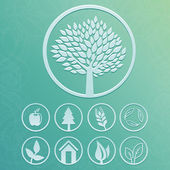 Vector round labels with tree and nature icons — Stock Vector