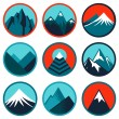 Vector set with abstract logos - mountains - Stock Vector
