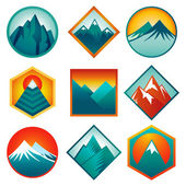 Vector set with abstract logos - mountains — Stock Vector