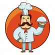 Vector cartoon character - chef cook with plate — Stock Vector