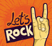 Vector let's rock poster - with hand and lettering — Stock Vector
