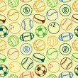 Stock Vector: Vector seamless pattern with sport balls