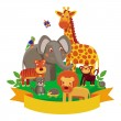 Vector cartoon animals - zoo — Stock Vector