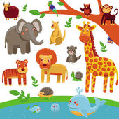 Vector set of cartoon animals - funny and cute — Stock Vector