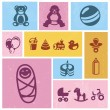 Vector design element with baby icons — Stock Vector
