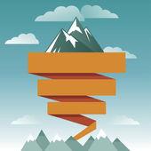 Vector retro design template with mountain icon — Stock Vector