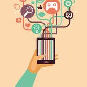 矢量手和移动电话与互联网的图标 — 图库矢量图片