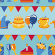 Vector seamless pattern with party icons and signs — ベクター素材ストック