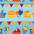 vector naadloze patroon met party iconen en tekenen — Stockvector