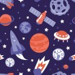 Vector seamless pattern with planets and stars — Stock Vector
