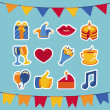 Vector birthday and party icons and signs — Stock Vector