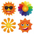 Set with 4 vector cartoon suns — Stock Vector