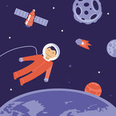 Vector cartoon astronaut in space — Stock Vector