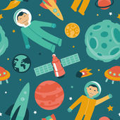Vector seamless pattern with space and planets — Stock Vector
