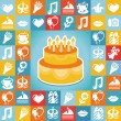 Vector birthday and party icons and signs — Stock Vector #26886233