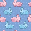 Vector seamless pattern with rabbits and hearts — Imagen vectorial