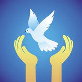 Vector dove and human hands - peace symbol — Stock Vector