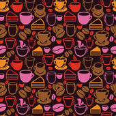 Vector seamless pattern with tea and coffee cups — Stock Vector
