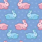 Vector seamless pattern with rabbits and hearts — Stock Vector