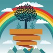 Stock Vector: Vector creative concept with rainbow and tree