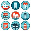 Vector set with real estate logos and emblems — Stock Vector #27261711