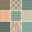 Vector set with vintage seamless patterns — Stock Vector