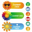 Vector set with summer design elements — Stock Vector