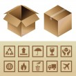 Vector cardboard delivery box and package icons — Stock Vector