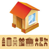 Vector set of houses icons — Stock Vector