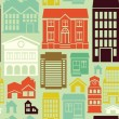 Vector seamless pattern with houses and buildings — Stock vektor