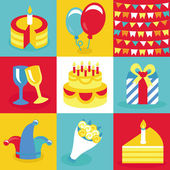 Vector birthday and party icons and signs — Vector de stock