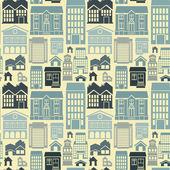бесшовный узор вектор с домов и зданий — Cтоковый вектор