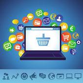 Conceito de compras on-line de vetor — Vetorial Stock